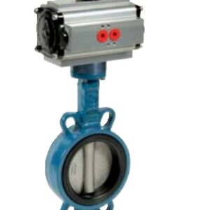 Wafer type butterfly valve with pneumatic actuator PN16