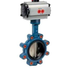 Lug type butterfly valve with pneumatic actuator PN16