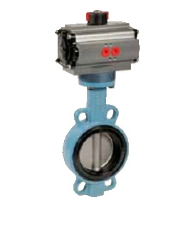 Wafer type butterfly valve with pneumatic actuator PN10/16 for drinking water