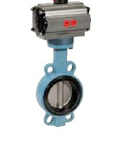 Wafer type butterfly valve with pneumatic actuator PN10/16