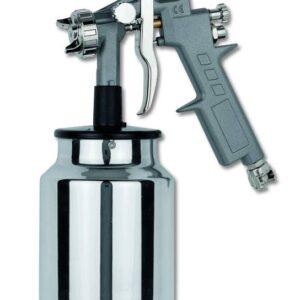 Professional spray gun with fluid cup-rapid hook closing