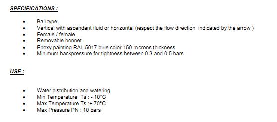 supapa de sens cu bila fonta si filet cilindric pentru apa