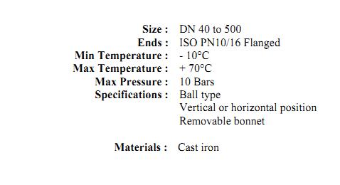 Supapa de sens fonta cu bila si flansa PN10 PN16 DN40 DN400