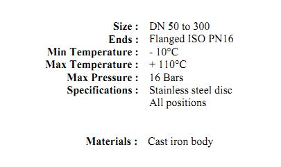 Supapa de sens cu arc si flanse din fonta Pn16 DN50 DN300