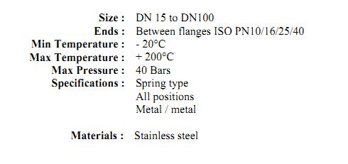 Clapeta de sens metal - metal tip wafer cu flansa PN16 DN15 DN100m check valves