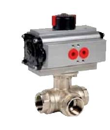 3 ways brass ball valve L/T type with pneumatic actuator DN2