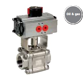 Stainless steel of carbon steel 3 pieces ball valve with pneumatic actuator - oil and gas