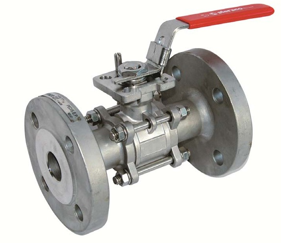 Stainless/carbon steel 3 pieces flanged ball valve DN15 GN40 ISO pad