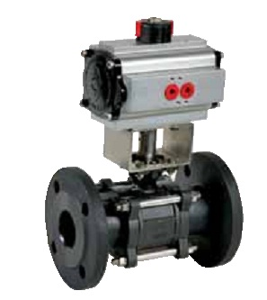 Carbon steel 3 pieces flnaged ball valve DN100 with pneumatic actuator
