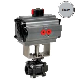 Stainless steel or carbon steel 3 ways ball valve ISO pad with pneumatic actuator for steam