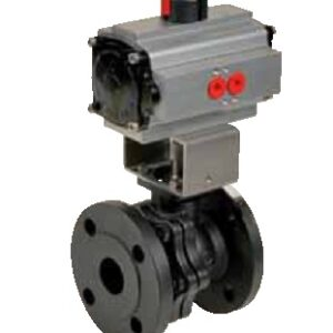 Carbon steel split-body flanged ball valve PN16 with pneumatic actuator