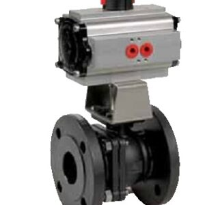 Carbon steel or stainless steel split-body flanged ball valve with pneumatic actuator