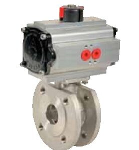 Wafer type flanged ball valve DN150 with pneumatic actuator