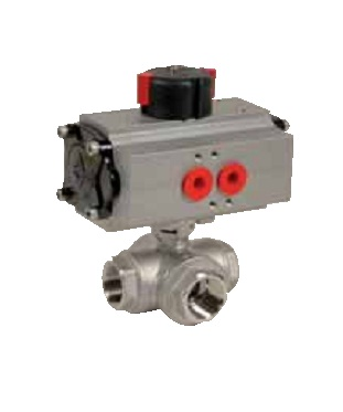 3 ways stainless steel ball valve PN40  with pneumatic actuator