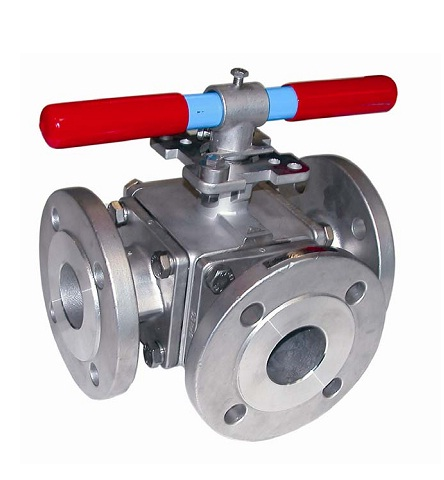 3 ways stainless/carbon steel flanged ball valve PN50