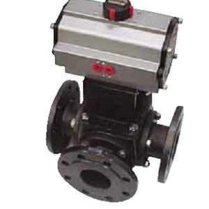 3 ways carbon steel flanged  ball valve with pneumatic actuator PN50