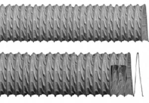 Flexible hose made in PVC coated fiber glass fabric