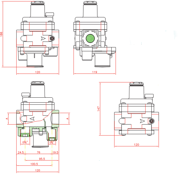 filtru regulato gaz 5 bar, filtru gaz, regulator gaz, echipamente gaz, filtru regulator gaz ci filet interior