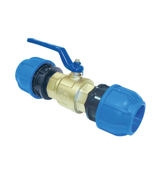 Compressed air straight union fitting with ball valve for aluminium pipe R224