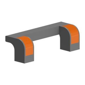 Maner negru/portocaliu din poliamida 115x35