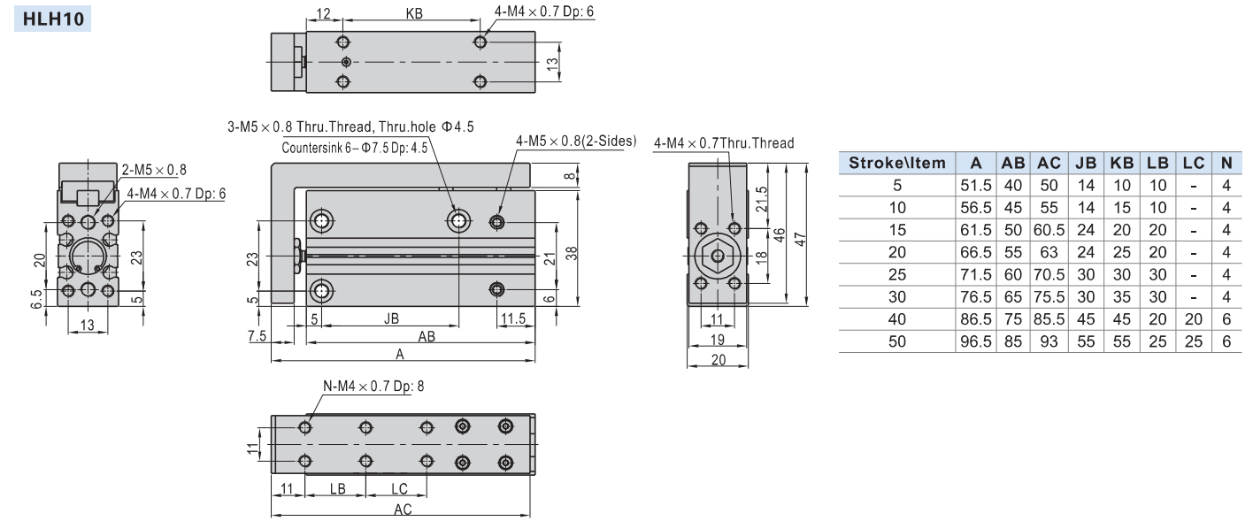 Detalii tehnice cilindru HLH AIRTAC Ø10MM