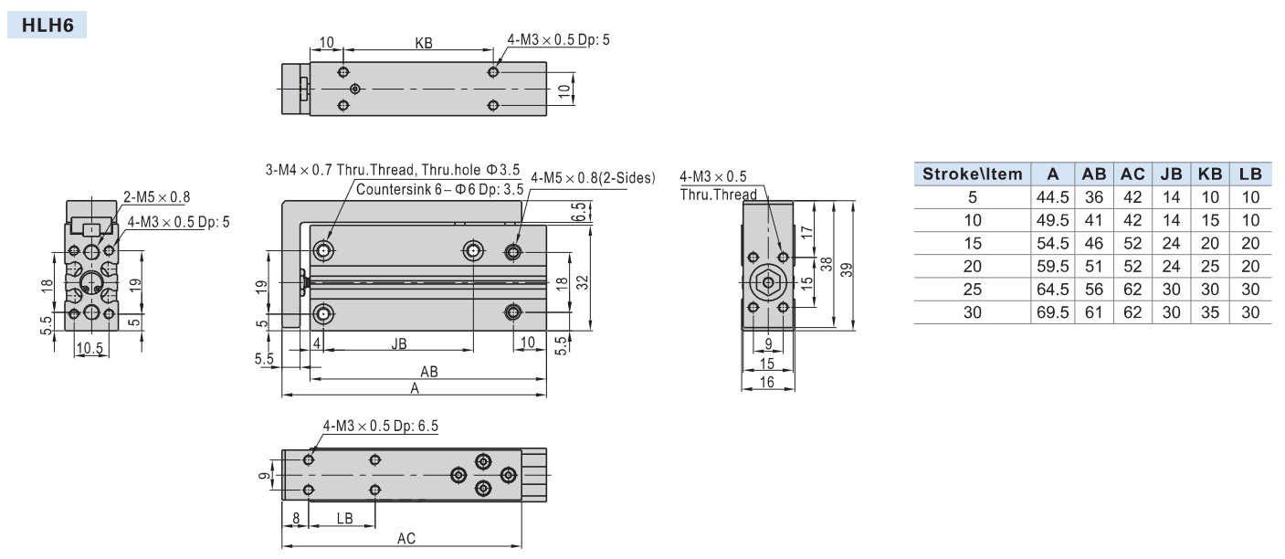 Detalii tehnice cilindru HLH AIRTAC Ø6MM
